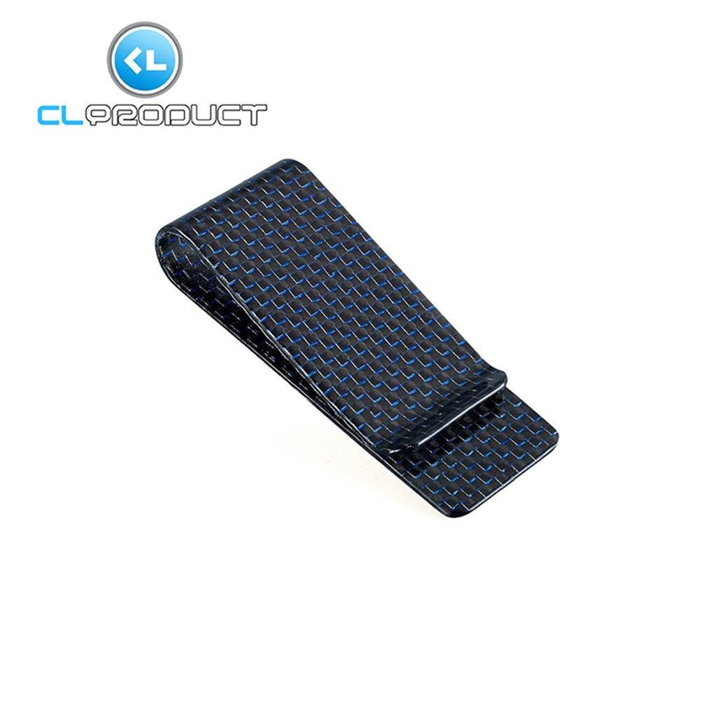 Real Blue Carbon Fiber M size - Genuine 3K Twill Credit Business-Credit Card Cash Wallet Money <font><b>Clip</b></font>