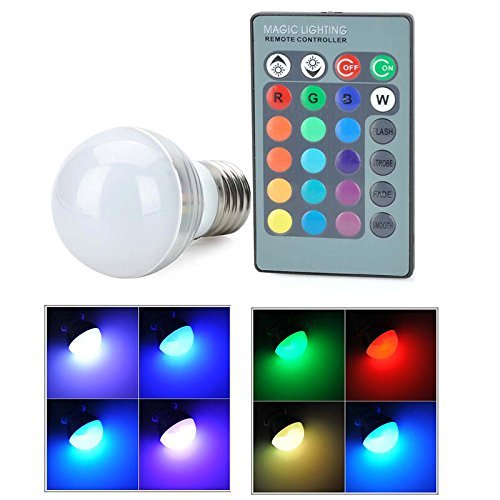 4PCS 5W E14 E27 RGB LED Bulb Dimmable 16 Colour Chnage Remote Controller 7W Mood Lighting Party Holiday LED RGB Light Bulbs