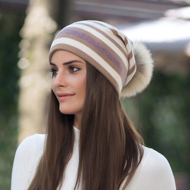 503a3f61da4a € 25.25 |Mujeres de lana de punto sombreros gorros invierno gruesa mapache  Pieles de animales Pompones sombreros para Niñas alta calidad caliente ...