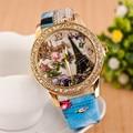 Mejor Oferta Torre de Reloj de Cuarzo Mujer Moda Patrón de Diamante Dial Relojes Hombres Reloj de Cuero De Imitación de Las Mujeres Vestido Reloj Montre Reloj