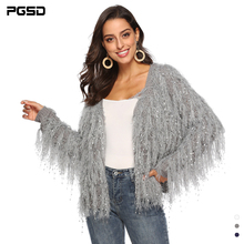 PGSD Autumn Winter Women clothes Pure color Handmade tassel V collar Long sleeves Sequins Loose knitted sweater Warm Cardigan недорого
