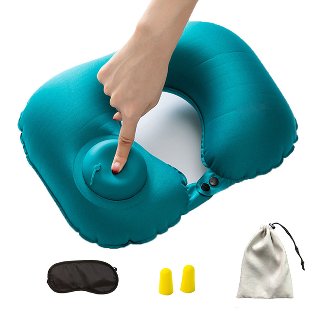Inflatable Pillow 4 Piece Set Travel Cervical U-type Automatic Inflatable Folding Portable Accessories 4