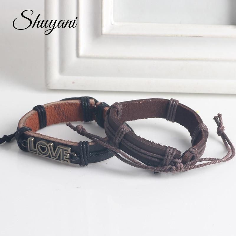 10PCS Punk Style Love Letter Cord Braided Leather Bracelet Adjustable Pulseira Masculina Bangle Jewelry