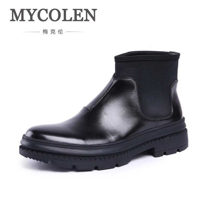 MYCOLEN Men Shoes New Arrival Winter Keep Warm Men Chelsea Boots Winter Genuine Leather Soft Shoes Mens Black Cowboy BootsMYCOLEN Men Shoes New Arrival Winter Keep Warm Men Chelsea Boots Winter Genuine Leather Soft Shoes Mens Black Cowboy Boots