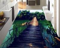 Beibehang 3d Flooring Wallpaper Wooden Bridge Bamboo Sky Water White Clouds Three Dimensional Floor Tiles Papel