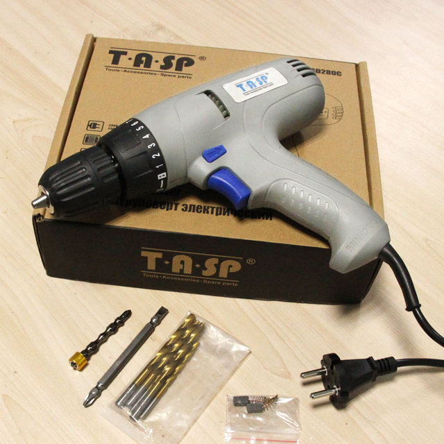 TASP MESD280C 220V 280W Electric Drill Screwdriver Power Tool Set for Drilling & Screwing with Keyless Chuck & 5m Cable  5
