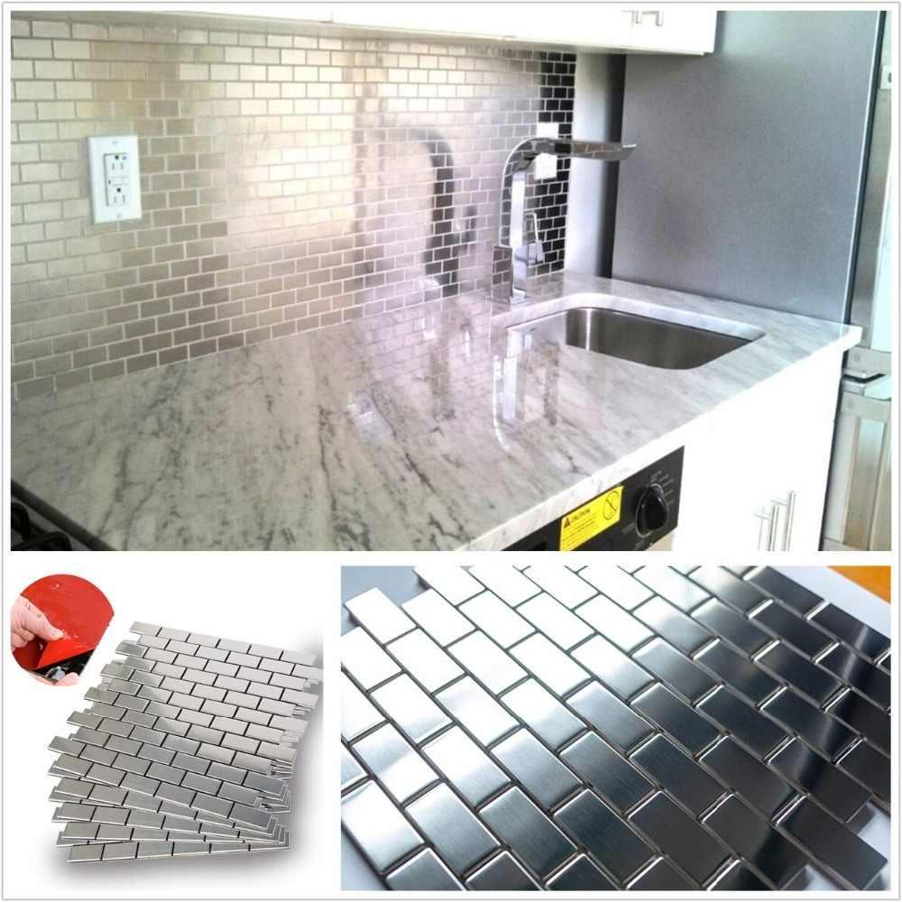 - 12 Inch 3M Glue Stainless Steel Tile Backsplash For Kitchen Stove