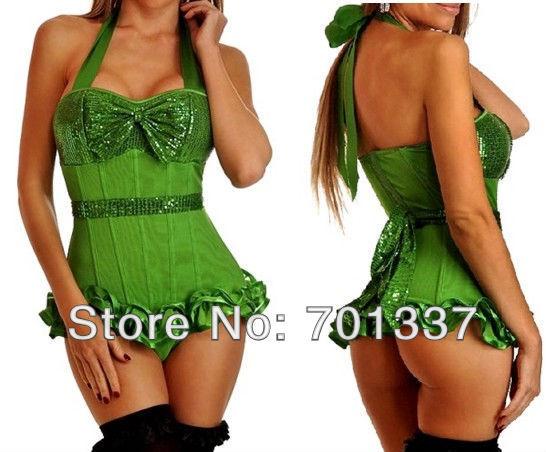 3 Colores Sexy lingerie Bustiers y Corsés Corsé desgaste del partido Del Vestido de Lujo W1011 Verde S-XXL