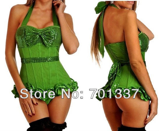 3 Colors Sexy lingerie Green  Bustiers & Corsets Corset  Fancy Dress party wear  W1011 S--XXL