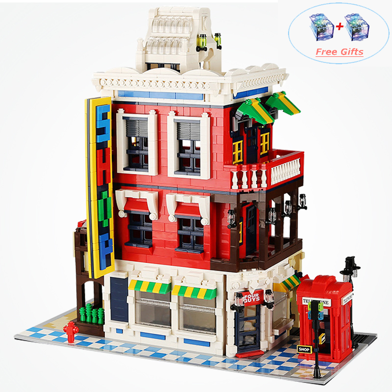 City Creator Corner Store Advanced Models Modular Buildings Architecture Blocks City Street View Toys For Kids