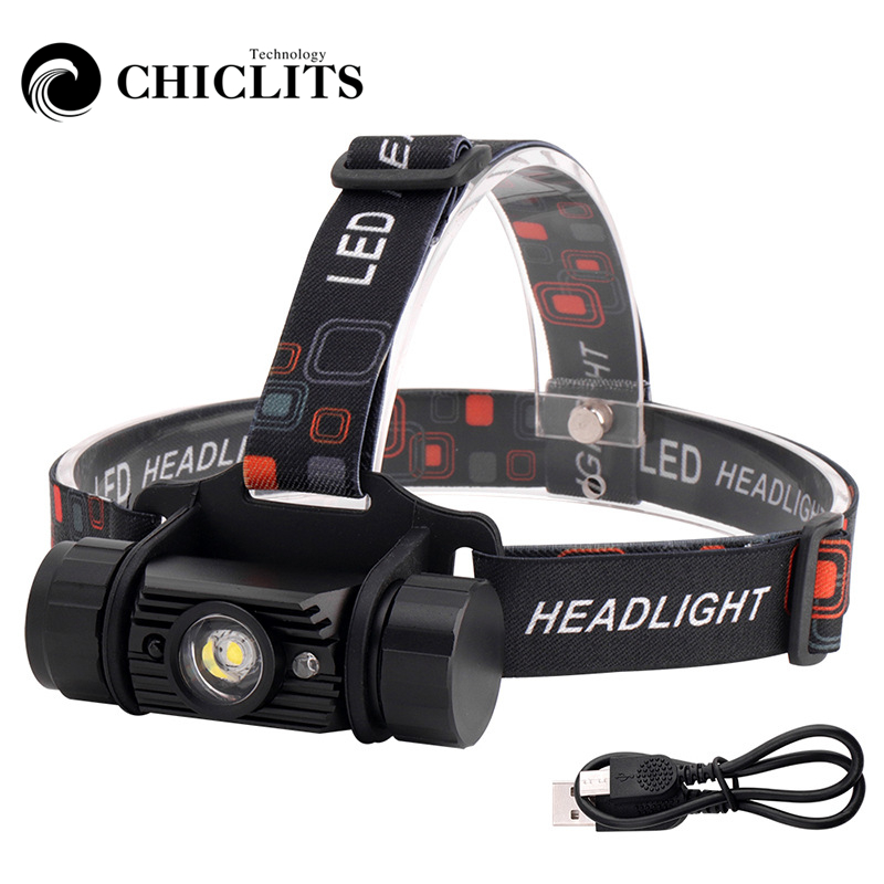 Waterproof Rechargeable USB Sensor Head Torch Light LED Headlamp Headlight