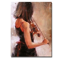 Hand made portrait wall painting art sexy black dressing girl play violin pictures canvs musiical instruments painting