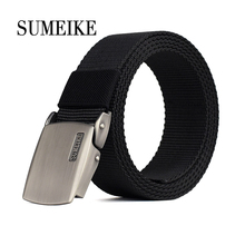 [SUMEIKE] Alloy Buckle Tactical Belt For Men Casual Style Male Belt Canvas Strap Men Waist Belt 22mm 24mm silicone rubber watch band for panerai luminor radiomir stainless carved pre v buckle strap wrist belt bracelet black
