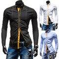 Бренд отстрочки декор мужские платье рубашки длинный рукав приталенный Fit свободного покроя социальный Camisas Masculinas M-XXL