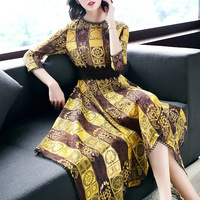 Summer Style Women Dress Designer 2018 Runway Dress High Quality Fashion Lady Vintage Print Casual Irregular