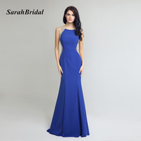 Sexy See Through Mermaid Evening Dresses 2017 Abendkleider Sleeveless Royal Blue Party Dress Long Vestido Longo