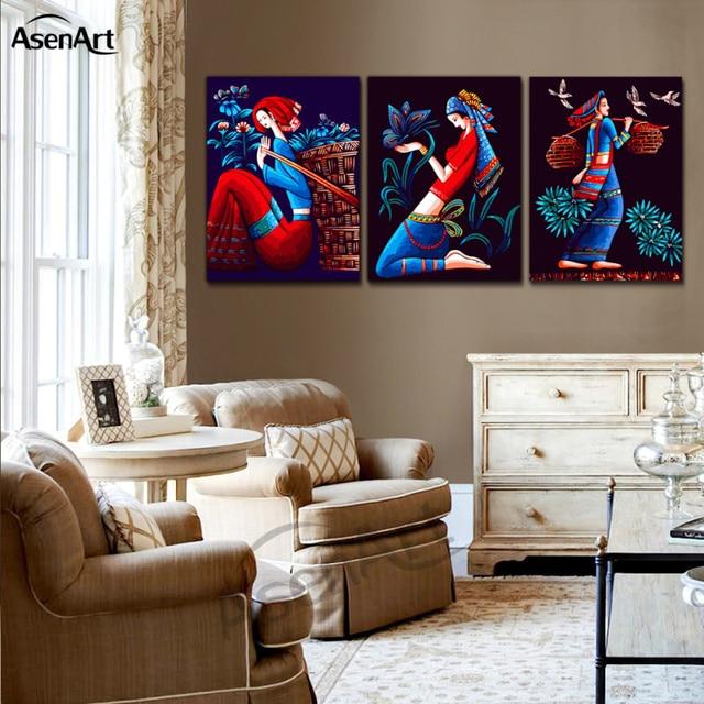 Tableau mural artistique chinois de filles   3 panneaux de peinture à lhuile Vintage, impressions de toile, décorations de maison, affiches pour chambre à coucher salon café