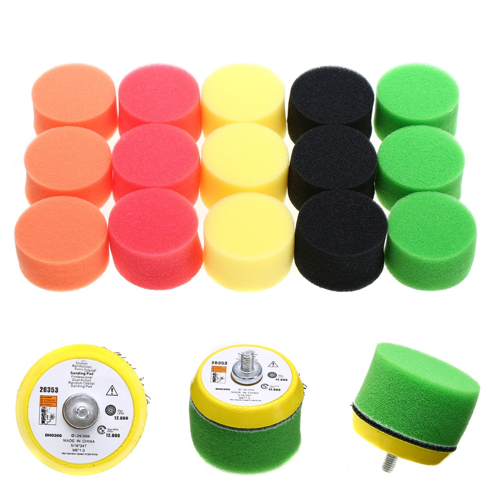 2019 New 16pcs/Set Flat Polishing Puff Pad Plate Sponge Kits Mayitr Air Car Polisher Sander Power Tools M6x1 2inch