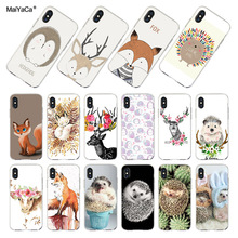 MaiYaCa For iphone 7 6 X XR XS MAX Lovely Deer Cartoon Animals Fox Hedgehog Phone Case for iPhone 8 6S Plus 5S SE