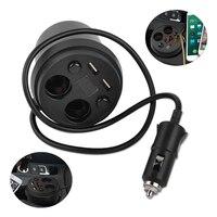 DWCX ABS & Metall 2 Buchse Zigarettenanzünder Tasse Dual USB Auto auto Power Adapter Ladegerät Spannung Led-anzeige für VW Audi BMW Kia