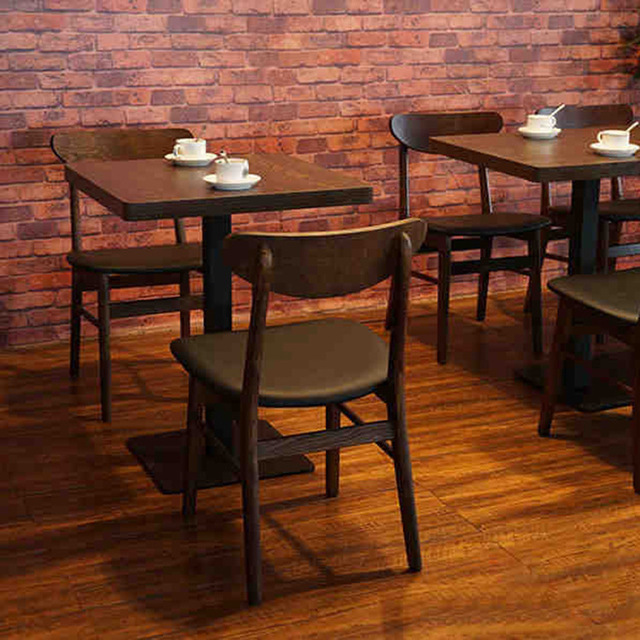 American Coffee Shop Restaurant Retro Wood Dinette Combination Of Solid Wood  Dining Tables And Chairs,