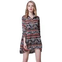 Summer New Vintage Style Flower Printed shirts dress women Long Sleeve Casual chiffon Women Dress Stand Collar Shirt Dress Hot