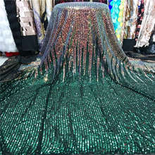 2019 Wholesale luxury quality African lace fabric with sequins 5 yards green France sequins lace fabric for party dress material