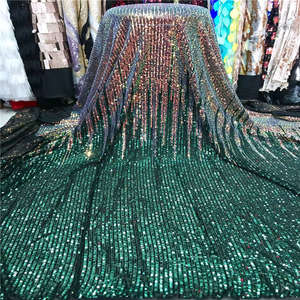 Image 1 - 2019 Wholesale luxury quality African lace fabric with sequins 5 yards green France sequins lace fabric for party dress material