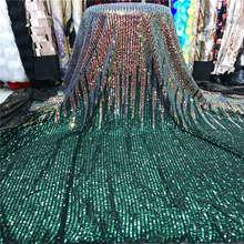 2019 ขายส่งคุณภาพสูงลูกไม้แอฟริกันผ้า sequins 5 หลาสีเขียวฝรั่งเศส sequins ลูกไม้ผ้าสำหรับชุดวัสดุ