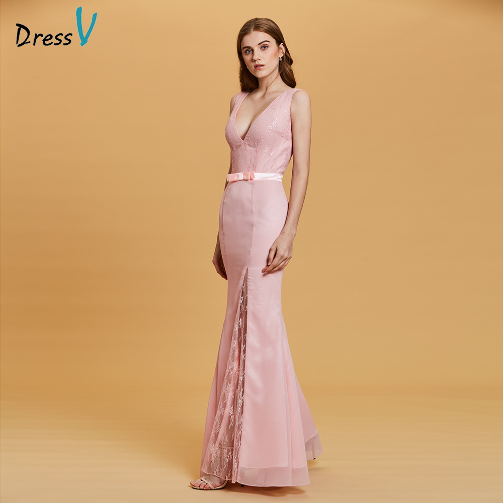 Dressv Pink Evening Dress Cheap V Neck Mermaid Bowknot Lace Floor Length Wedding Party Formal Dress Trumpet Evening Dresses