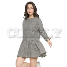 Cuerly Women oversized pleated plaid dress ruffles checkered long bow tie sleeve loose back buttons thick warm casual vestidos buttoned keyhole self tie checkered dress