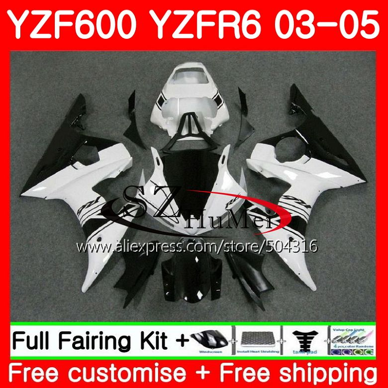 Body New White For YAMAHA YZF600 YZF R6 R 6 03 YZF 600 Bodywork 67MC 5
