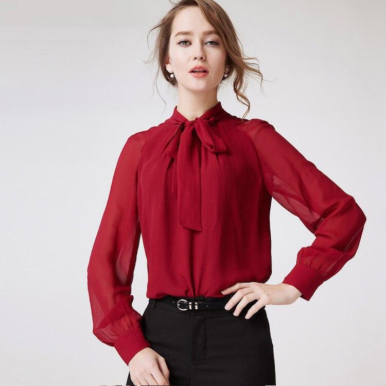 Bureau Chemise Mousseline Winered hotpink Mode Dark De Lady 100 Tissu Pure Shirts Femmes Soie En zfFdwx