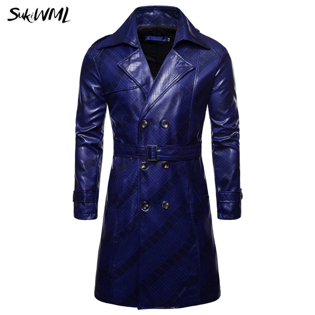 SUKIMWL Trench Coat Homme...