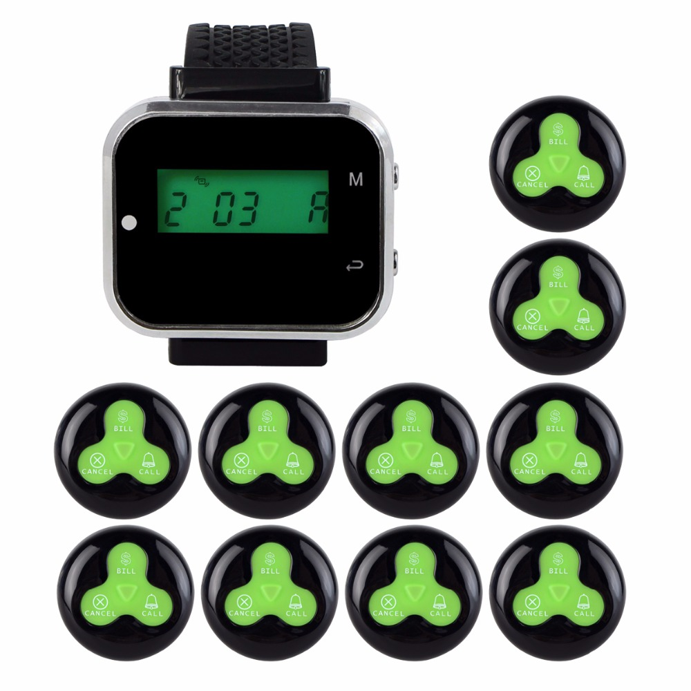 Restaurant Pager 1pcs Watch Wrist Receiver Host +5pcs Call Transmitter Button Wireless Guest Queuing Calling System F3294 service call bell pager system 4pcs of wrist watch receiver and 20pcs table buzzer button with single key