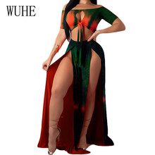 WUHE Summer Vintage Two Pieces Sets High Split Maxi Dress Sexy Hollow Out Lace-up Retro Elegant Robe Grande Taille Femme
