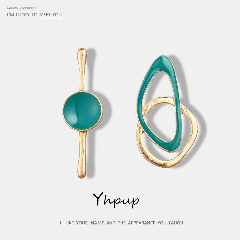 Yhpup 2019 New Charm Fashion Green Drip Asymmetry Geometric Stud Earrings Enamel Zinc Alloy Gold Earrings Women Party Jewelry