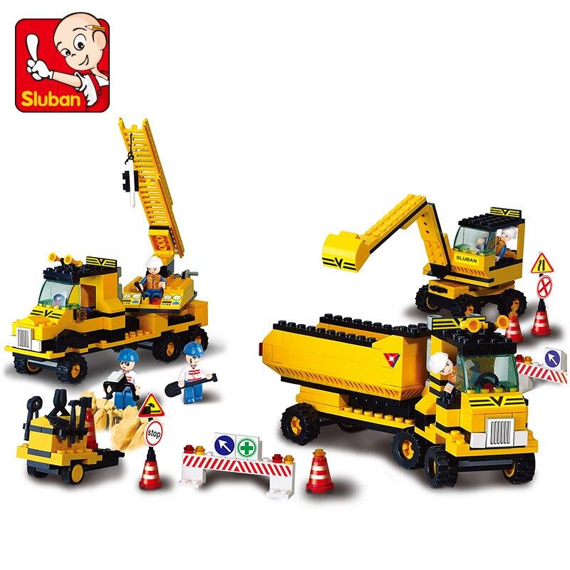 ФОТО Original Sluban Small Building Blocks Engineering Group 474pcs Set Boys Toys Gift Compatible Blocks DIY Toys EN71