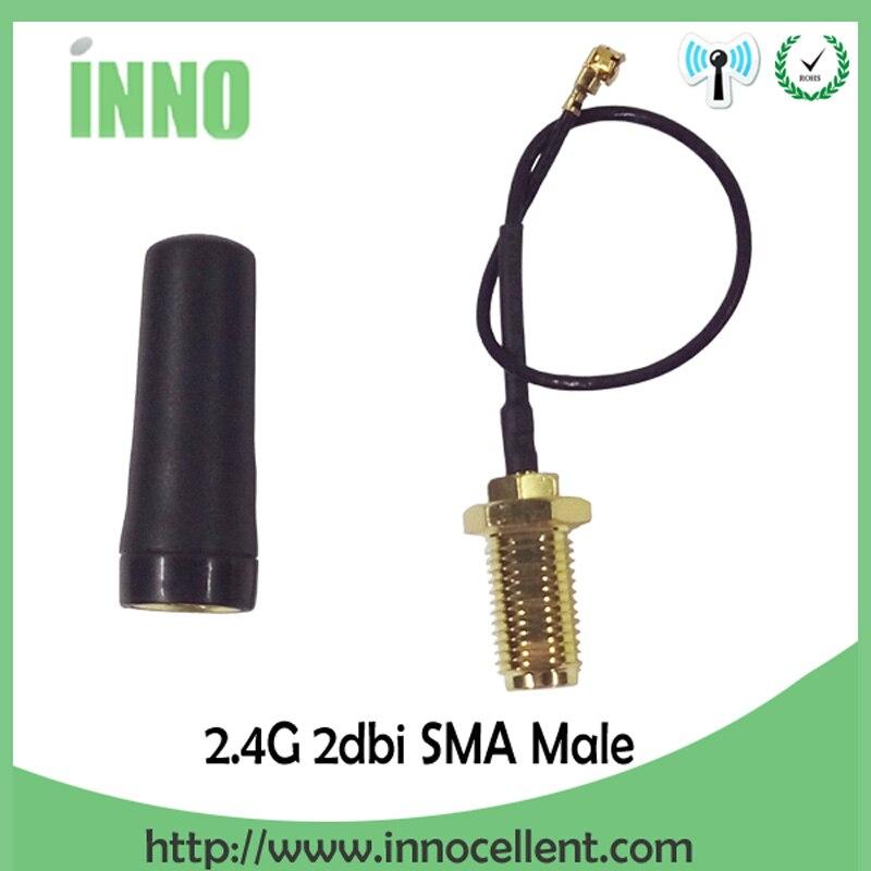 20 штук 2.4 ГГц Wi-Fi UHF Телевизионные антенны всенаправленная SMA Мужской 2.0dBi Rf Связь + PCI U. FL IPX для RP SMA мужской косичка кабель