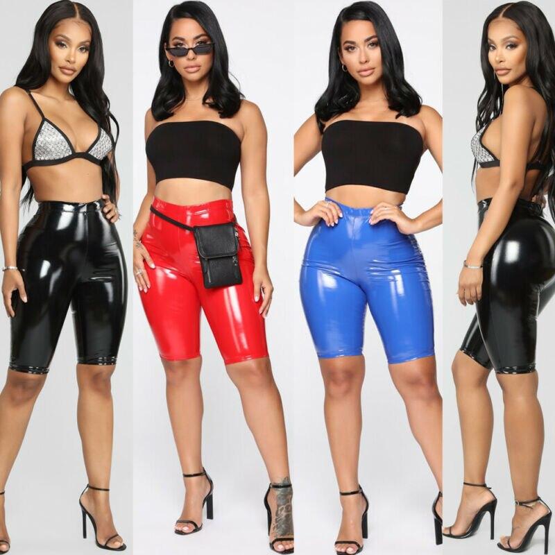 Fashion High Elasticity PU Leather Solid Skinny Shorts Women Fashion Bodycon Sport Tight Solid Short Pants