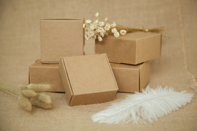 500 pièces brun kraft papier boîte emballage cadeaux boîtes noël cadeau boîte pour bijoux/bonbons/mariage femmes bijoux présentoirs-in Boîtes et vitrines à bijoux from Bijoux et Accessoires    1