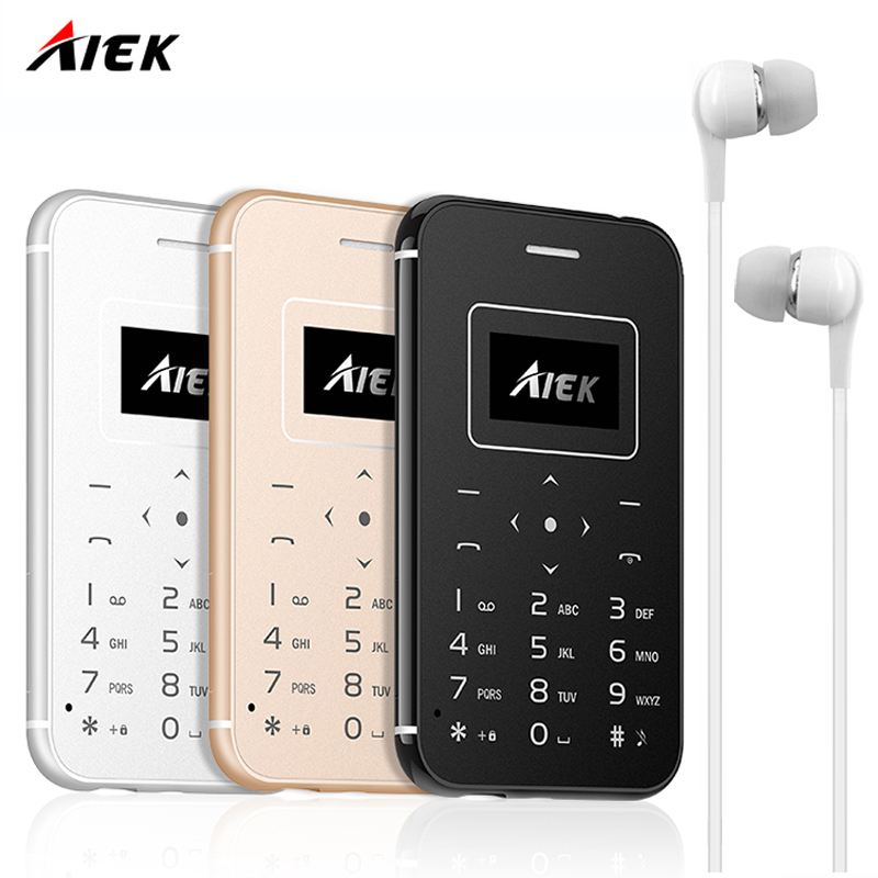 2017 AIEK AEKU X8 Ultra Thin Card Mobile Phone Mini Pocket Students Personality Children Phone PK