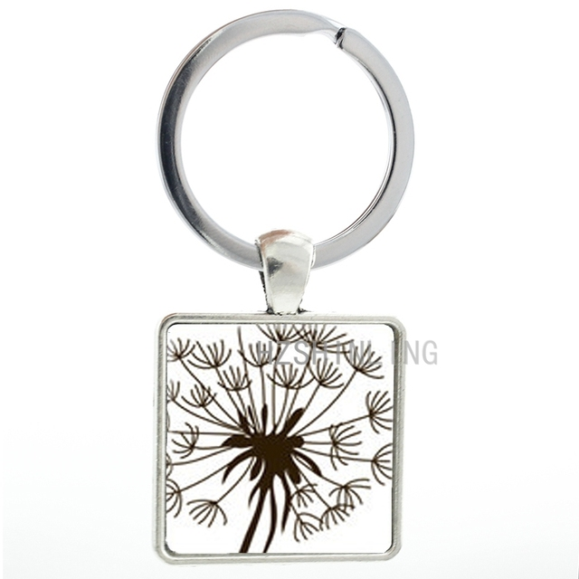 Queen Anne s Lace Flower Silhouette keychain vintage chocolate lace flowers key  chain ring holder men women jewelry gift AA131 8a959dd82