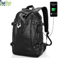 Reether School Backpack USB Charging Port Backpack A Earphone Cord Hole PU Bookbags Business Man Computer