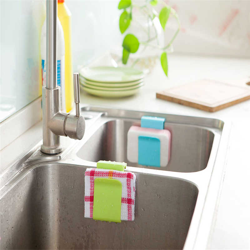 Image 3 - Kitchen Storage Rack Towel Soap Dish Holder Kitchen Bathroom Sink Dish Sponge Storage shelf Holder Rack Robe Hooks Sucker-in Racks & Holders from Home & Garden