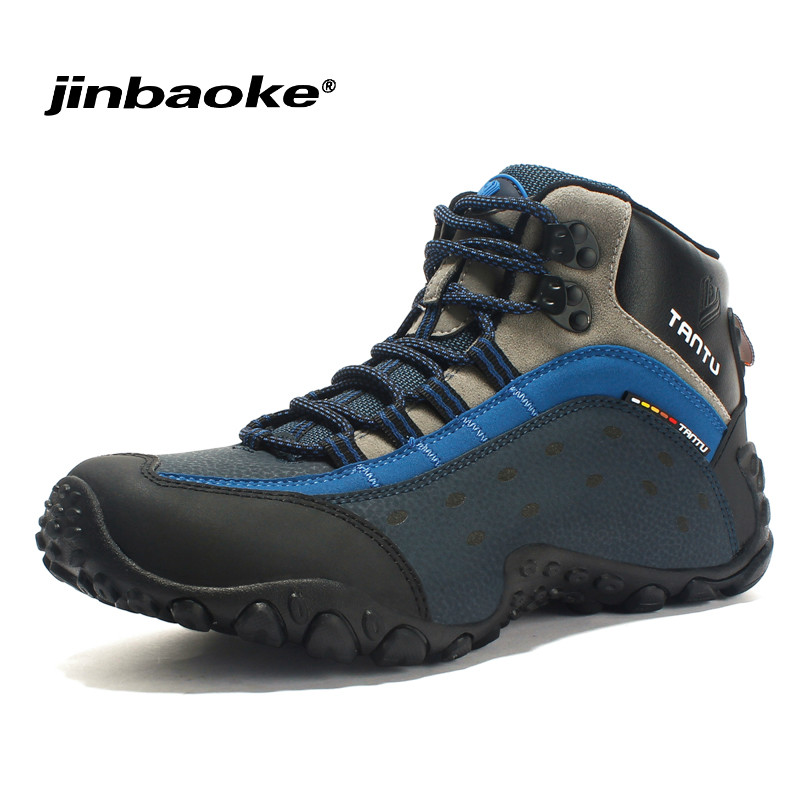 Outdoor 100% Genuine Leather Men Waterproof Hiking Shoes Snow Boots Trekking Shoes Rubber Wear-resistant Tourist Climbing Shoes