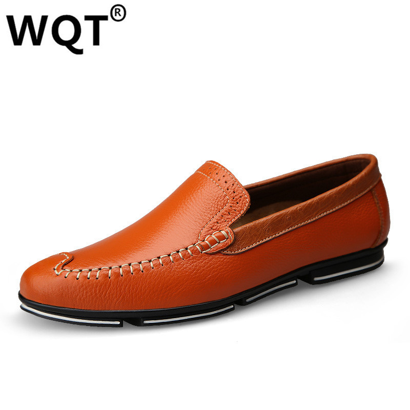 WQT 2016 Men Shoes Brand Mocassin Homme Genuine Leather Casual Driving Oxfords Shoes Men Loafers Moccasins Shoes For Men 2017 new men shoes luxury brand moccasin leather casual driving oxfords shoes men loafers moccasins shoes for men size
