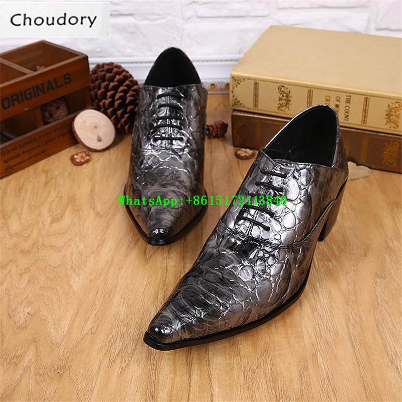 Choudory New Height Increasing Solid Breathable Men Casual Shoes Trainers Pointed Toe Fluorescent Light Patent Leather Mens Shoe