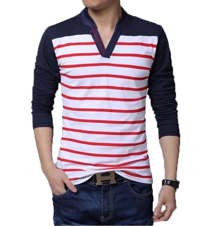 Buy large size men stripe v neck t shirt for Large shirt neck size