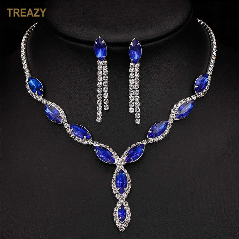 Fashion Silver Plated Royal Blue Crystal Wedding Jewelry Sets for Women Leaf Tassel Long Necklace Earrings Bridal Jewelry Sets